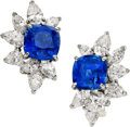 Estate Jewelry:Earrings, Sapphire, Diamond, Platinum, White Gold Earrings, Monture HarryWinston. ...
