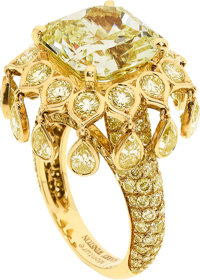 Fancy Intense Yellow Diamond, Diamond, Gold Ring, Monture Harry Winston