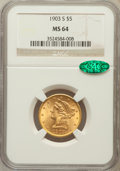 Liberty Half Eagles: , 1903-S $5 MS64 NGC. CAC. NGC Census: (755/255). PCGS Population(662/156). Mintage: 1,855,000. Numismedia Wsl. Price for pr...