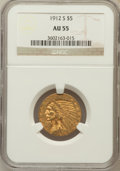 Indian Half Eagles: , 1912-S $5 AU55 NGC. NGC Census: (345/765). PCGS Population(154/306). Mintage: 392,000. Numismedia Wsl. Price for problem f...