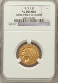 Indian Half Eagles, 1915-S $5 -- Improperly Cleaned -- NGC Details. AU. NGC Census:(62/1037). PCGS Population (41/531). Mintage: 164,000. ...