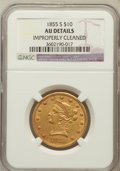 Liberty Eagles, 1855-S $10 -- Improperly Cleaned -- NGC Details. AU. NGC Census:(3/16). PCGS Population (6/8). Mintage: 9,000. Numisme...