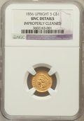 Gold Dollars, 1856 G$1 Upright 5 -- Improperly Cleaned -- NGC Details. UNC. NGCCensus: (50/1140). PCGS Population (41/516). Mintage:...