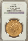 Liberty Double Eagles, 1861 $20 -- Improperly Cleaned -- NGC Details. AU. NGC Census:(242/1917). PCGS Population (203/877). Mintage: 2,976,45...