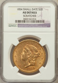 Liberty Double Eagles, 1854 $20 Small Date -- Scratches --NGC Details. AU. NGC Census: (77/380). PCGS Population (67/151). Mintage: 757,...