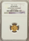 Gold Dollars, 1851-O G$1 -- Improperly Cleaned -- NGC Details. AU. NGC Census:(12/761). PCGS Population (22/339). Mintage: 290,000. ...