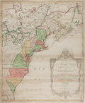 Books:Maps & Atlases, [Map of the American Colonies]. Carte Nouvelle de l' AmeriqueAngloise. Ca. 18th Century. Engraved with hand-colorin...
