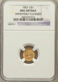 Gold Dollars, 1853 G$1 -- Improperly Cleaned -- NGC Details. UNC. NGC Census:(240/7776). PCGS Population (160/3547). Mintage: 4,076,...