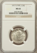 Standing Liberty Quarters: , 1917-S 25C Type Two MS65 NGC. NGC Census: (53/16). PCGS Population(67/16). Mintage: 5,552,000. Numismedia Wsl. Price for p...