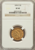 Liberty Half Eagles: , 1894-S $5 XF45 NGC. NGC Census: (36/162). PCGS Population (25/71).Mintage: 55,900. Numismedia Wsl. Price for problem free ...