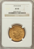 Indian Eagles: , 1914-S $10 XF45 NGC. NGC Census: (16/918). PCGS Population(22/764). Mintage: 208,000. Numismedia Wsl. Price for problem fr...