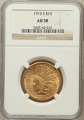 Indian Eagles: , 1910-S $10 AU58 NGC. NGC Census: (609/470). PCGS Population(393/615). Mintage: 811,000. Numismedia Wsl. Price for problem ...