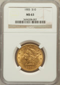 Liberty Eagles: , 1905 $10 MS63 NGC. NGC Census: (290/222). PCGS Population(219/104). Mintage: 200,900. Numismedia Wsl. Price for problemfr...