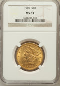 Liberty Eagles: , 1905 $10 MS63 NGC. NGC Census: (293/222). PCGS Population(221/107). Mintage: 200,900. Numismedia Wsl. Price for problemfr...
