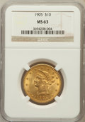 Liberty Eagles: , 1905 $10 MS63 NGC. NGC Census: (292/224). PCGS Population(222/107). Mintage: 200,900. Numismedia Wsl. Price for problemfr...