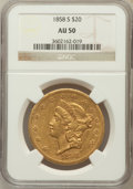 Liberty Double Eagles: , 1858-S $20 AU50 NGC. NGC Census: (80/456). PCGS Population(66/149). Mintage: 846,710. Numismedia Wsl. Price for problem fr...