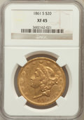 Liberty Double Eagles: , 1861-S $20 XF45 NGC. NGC Census: (147/464). PCGS Population(122/222). Mintage: 768,000. Numismedia Wsl. Price for problem ...