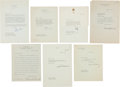 Autographs:Letters, 1923-74 U.S. Presidents Signed Letters Lot of 7....