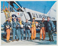 """Autographs:Celebrities, Mercury Seven Astronauts: Vintage Color Photo Signed by All,Directly from the Personal Collection of Astronaut """"Den Mothe..."""