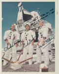 """Autographs:Celebrities, Apollo 12 Crew-Signed Vintage NASA Color Glossy """"Red Number"""" PhotoDirectly from the Personal Collection of Astronaut """"Den Mot..."""