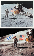 "Autographs:Celebrities, Apollo 15 Moonwalkers: Matching Individual Signed Lunar Surface ""Flag Salute"" Color Photos. ... (Total: 2 Items)"