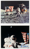 Autographs:Celebrities, Apollo 17 Moonwalkers: Individual Signed Lunar Surface Flag ColorPhotos.... (Total: 2 Items)