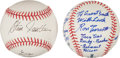 Autographs:Baseballs, Triple Crown Winners Single Signed Baseballs WithInscriptions(Horse Racing). ...