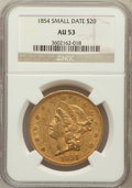 Liberty Double Eagles: , 1854 $20 Small Date AU53 NGC. NGC Census: (90/290). PCGS Population(45/106). Mintage: 757,899. Numismedia Wsl. Price for p...