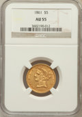 Liberty Half Eagles: , 1861 $5 AU55 NGC. NGC Census: (308/791). PCGS Population (156/329).Mintage: 688,150. Numismedia Wsl. Price for problem fre...