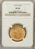 Indian Eagles: , 1914-S $10 AU50 NGC. NGC Census: (20/895). PCGS Population(27/742). Mintage: 208,000. Numismedia Wsl. Price for problem fr...