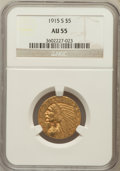 Indian Half Eagles: , 1915-S $5 AU55 NGC. NGC Census: (254/686). PCGS Population(107/383). Mintage: 164,000. Numismedia Wsl. Price for problem f...
