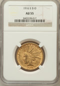 Indian Eagles: , 1916-S $10 AU55 NGC. NGC Census: (82/686). PCGS Population(95/704). Mintage: 138,500. Numismedia Wsl. Price for problem fr...