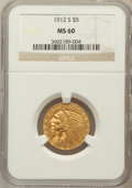 Indian Half Eagles: , 1912-S $5 MS60 NGC. NGC Census: (23/217). PCGS Population (7/163).Mintage: 392,000. Numismedia Wsl. Price for problem free...