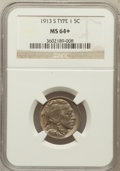 Buffalo Nickels: , 1913-S 5C Type One MS64+ NGC. NGC Census: (449/287). PCGS Population (740/448). Mintage: 2,105,000. Numismedia Wsl. Price f...