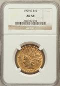 Indian Eagles: , 1909-D $10 AU58 NGC. NGC Census: (274/579). PCGS Population(235/711). Mintage: 121,540. Numismedia Wsl. Price for problem ...