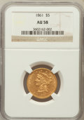 Liberty Half Eagles: , 1861 $5 AU58 NGC. NGC Census: (529/263). PCGS Population (124/207).Mintage: 688,150. Numismedia Wsl. Price for problem fre...