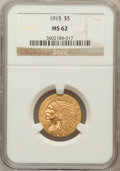Indian Half Eagles: , 1915 $5 MS62 NGC. NGC Census: (1737/1183). PCGS Population(1315/1321). Mintage: 588,075. Numismedia Wsl. Price for problem...