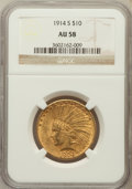 Indian Eagles: , 1914-S $10 AU58 NGC. NGC Census: (333/416). PCGS Population(187/433). Mintage: 208,000. Numismedia Wsl. Price for problem ...