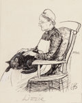 Mainstream Illustration, ERNEST HOWARD SHEPARD (British, 1879-1976). Lizzie, storyillustration. Pen on board. 3.75 x 3 in. (image). Initialedlo...