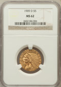 Indian Half Eagles: , 1909-D $5 MS62 NGC. NGC Census: (9670/10453). PCGS Population(9025/12292). Mintage: 3,423,560. Numismedia Wsl. Price for p...