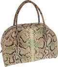 Luxury Accessories:Bags, Alaia Seafoam and Brown Python Large Satchel Bag. ...