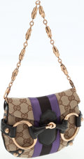 Luxury Accessories:Bags, Gucci Classic Monogram Canvas and Purple Web Stripe Party Bag. ...