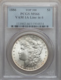 Morgan Dollars: , 1886 $1 MS66 PCGS. Top-100, Vam-1A Line in 6. PCGS Population(2495/246). NGC Census: (4929/879). Mintage: 19,963,886. Numi...