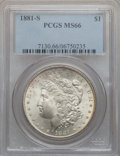 Morgan Dollars: , 1881-S $1 MS66 PCGS. PCGS Population (12018/1661). NGC Census:(16207/4212). Mintage: 12,760,000. Numismedia Wsl. Price for...