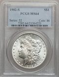 Morgan Dollars: , 1902-S $1 MS64 PCGS. PCGS Population (1395/320). NGC Census:(800/109). Mintage: 1,530,000. Numismedia Wsl. Price for probl...