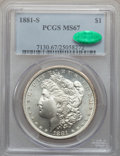 Morgan Dollars: , 1881-S $1 MS67 PCGS. CAC. PCGS Population (1562/97). NGC Census:(4023/196). Mintage: 12,760,000. Numismedia Wsl. Price for...