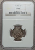 Buffalo Nickels: , 1924-S 5C VF25 NGC. NGC Census: (76/368). PCGS Population (73/536).Mintage: 1,437,000. Numismedia Wsl. Price for problem f...