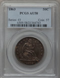 Seated Half Dollars: , 1863 50C AU58 PCGS. PCGS Population (4/61). NGC Census: (4/56).Mintage: 503,200. Numismedia Wsl. Price for problem free NG...