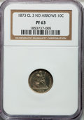 Proof Seated Dimes: , 1873 10C No Arrows, Closed 3 PR63 NGC. NGC Census: (29/87). PCGSPopulation (53/72). Mintage: 1,100. Numismedia Wsl. Price ...