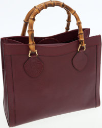 Gucci Bordeaux Leather Bamboo Handle Tote Bag